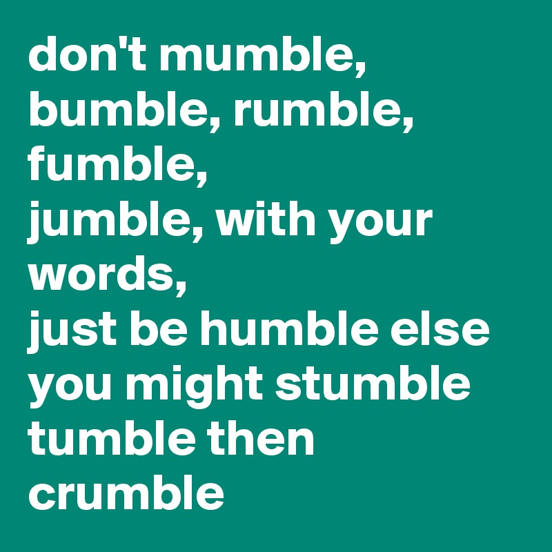 Tumble to Rumble
